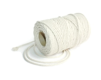 2.5 mm Cotton Rope = 1 Spool = 50 Meters = 55 Yards Natural and Elegant 100% COTTON Twisted CORD- Macrame cord - Not bleached - No chemicals