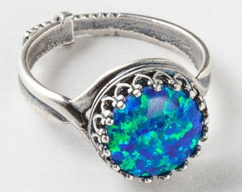 Silver Opal Ring, Black Opal Ring, Silver Filigree Ring with Adjustable Band, Statement Ring, Cocktail Ring, October Birthstone Jewelry Gift