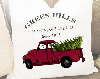 Christmas pillow covers - Holiday Pillow Cover - Red Truck Pillow Cover - Christmas Gift Pillow  - Red Truck Pillow - Winter Pillow