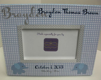 Baby Boy Personalized Birth Announcement Frame with Elephants