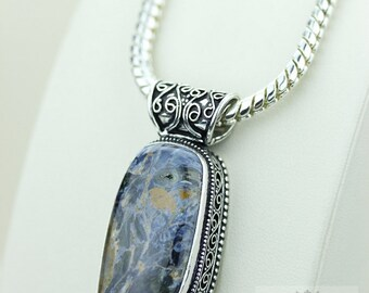 NAMIBIAN PIETERSITE VINTAGE Style Setting 925 Solid Sterling Silver Pendant + 4mm Snake Chain p2237