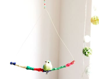 Bird on Branch Mobile - Hanging Decoration
