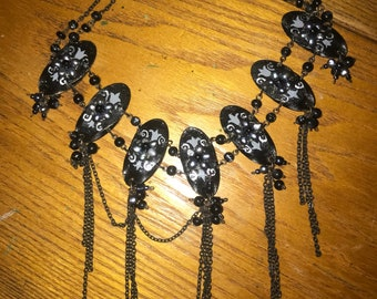 Black pearl and onyx necklace vintage design