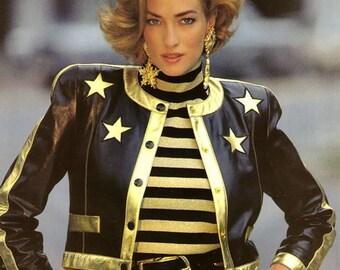 Escada jacket leather Margaretha Ley vintage iconic leather jacket with gold stars Escada couture Escada blazer skirt dress belt