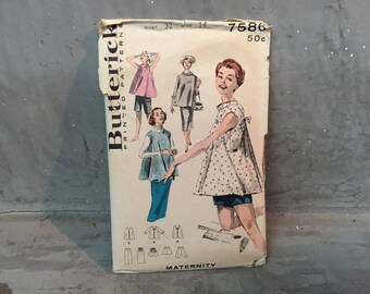 50's Butterick 7586 Pattern Misses' Maternity Outfits, Tops, Tunics and Shorts - Size 14 Bust 32