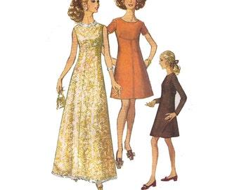 "Simplicity 8498, 60s sewing pattern, 1960s pattern, size 12 bust 34"" women's low neck dress, mini dress, party dress"