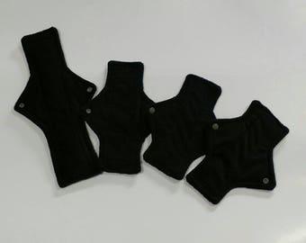 4pc cloth pad starter set, BLACK, minky, 1 light, 2 moderate,1 super, made on order, choose length, fleece backed, square shape,starter pack