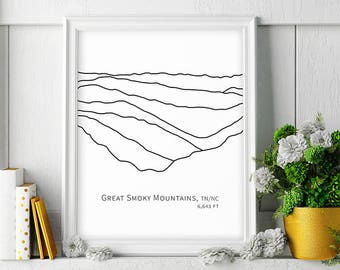Great Smoky Mountains Art Minimalist Poster Hiking Decor Mountain Print Large Wall Art Black and White Instant Digital Download Hiker Gift