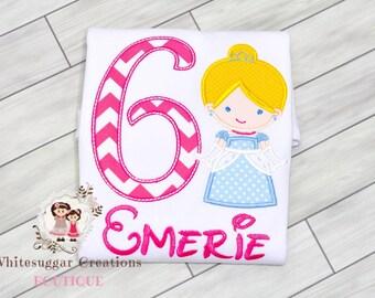 Girl Princess Birthday Shirt - Princess as Cinderella Birthday Embroidered Shirt - Hot Pink and Light Blue Baby Girl Shirt