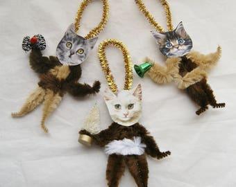Chenille Ornaments, Cat Ornaments, Primitive Style Chenille Victorian Ornaments, Cat Lover, (190)