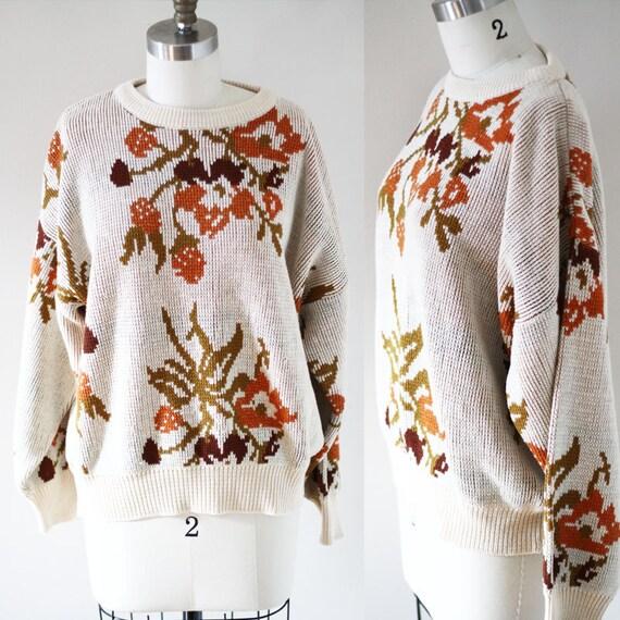 1980s digi print sweater// vintage floral sweater // vintage womens