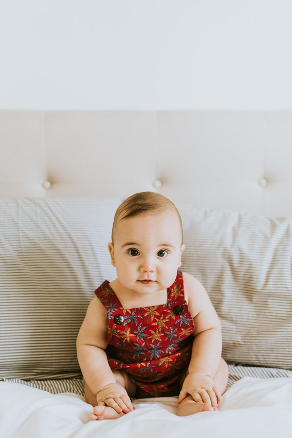 Palm Trees Bubble Romper, Vintage Inspired Romper, Hawaiian Baby, Gender Neutral, Baby Boy Romper, Baby Girl Romper, Retro Baby Romper