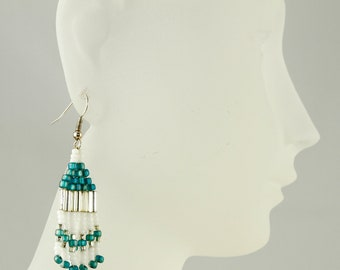 Seed Bead Dangle Earrings - Native American Style/ Teal, White and Silver