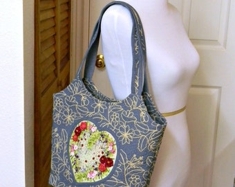 Embroidered Denim Bag Light Blue Handbag with Heart Hand Embroidery Ribbon Work Zippered Summer Tote Original Design OOAK