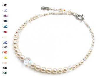 Serenity - Breast Cancer Necklace - Pearl and Crystal - Cancer Necklace - With Swarovski Elements