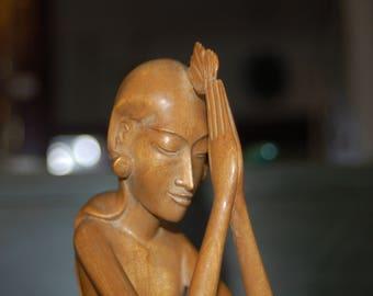 Balinese Folk Art Hand Carved Spiritual / Praying / Thanksgiving / Floral Offering Sculpture of Pandy Sanur Art Gallery w/ Original Label