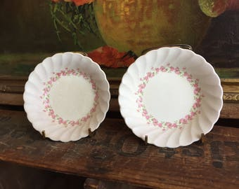 Pink Floral Bowls Set of 2 Vintage Distressed Small White Ceramic Bowls Made in England