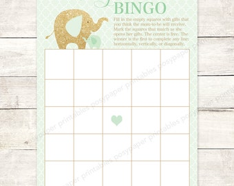 baby shower bingo game card printable DIY elephants mint gold glitter gender neutral digital shower games - INSTANT DOWNLOAD