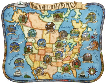 "Cryptids of North America Map Art Print 16"" x20"""