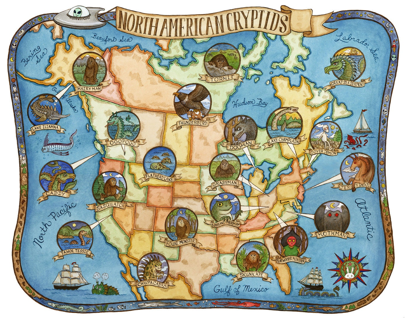 Cryptids Of North America Map Art Print 16 X20