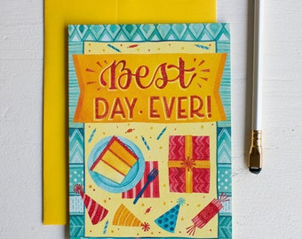 Birthday Card for Friend, Best Day Ever Celebration Colorful Greeting Card, Happy Birthday Garland Notecard, Funny Glitter Bday Card Anyone