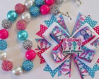 Follow Your Dreams Hair Bow & Chunky Bead Necklace