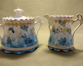 Vintage Blue and Gold RS Prussia Creamer and Sugar Bowl Red RS Marking