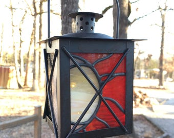 Sun Moon Stained Glass Lantern