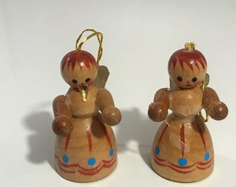 Vintage Wooden Angel Christmas Ornaments from the 1960's Hand painted.