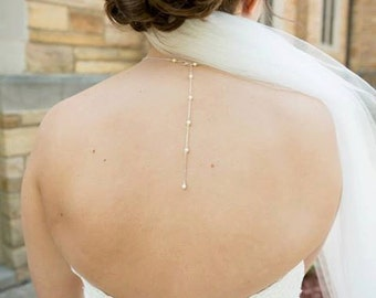 Pearl Back Drop Necklace, Sterling Silver, Long Backdrop, Swarovski Pearl Necklace, Tiny Pearls, White Ivory Cream, Bridal Jewelry, Gold