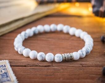 6mm - White howlite beaded stretchy bracelet, custom made wrap bracelet, womens bracelet, mens bracelet