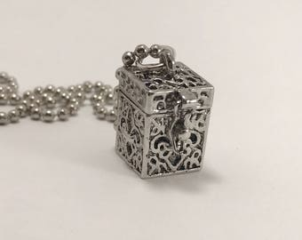 Prayer box necklace, Prayer box charm, Prayer box pendant, Prayer box, prayer box locket, Silver necklace, Hugs and Kisses Butterfly Kisses