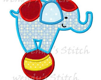 Circus elephant applique machine embroidery design digital pattern