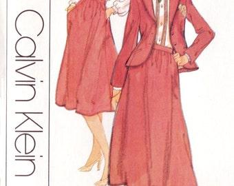 1970s Calvin Klein Womens Jacket, Blouse & Skirt Vogue Sewing Pattern 1791 Size 12 Bust 34 UnCut Vintage American Designer Pattern