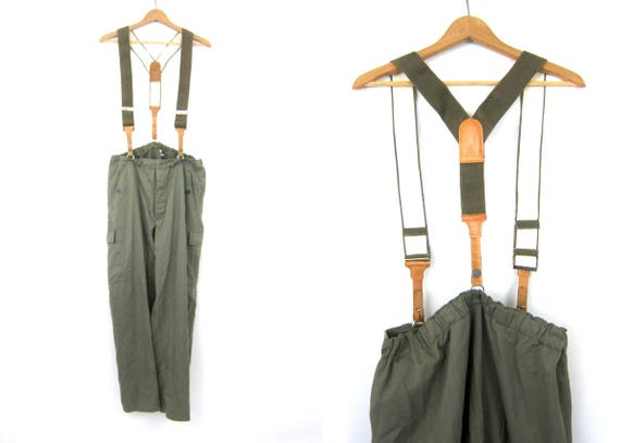 Vintage East German Military Pants Leather Suspender Trousers Army Green Grunge Utility Pants DES Button Fly Mens Cargo Pants Size 34 x 30