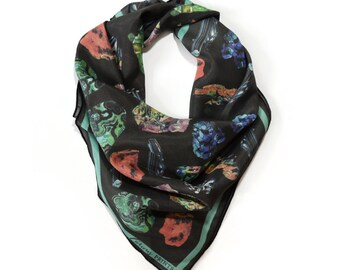 Crystals & Gems Scarf / Minerals Printed Ascot neckerchief Bandana / Vintage Geo Illustration / Sqaure 26x26 Poly Chiffon  /A3303