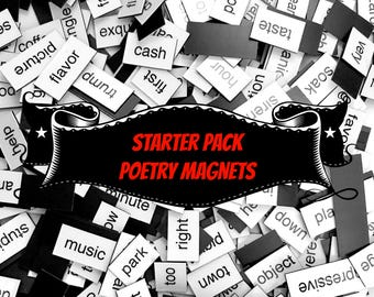Starter Pack Poetry Magnets - Refrigerator Word Quote Magnets - Free US Shipping