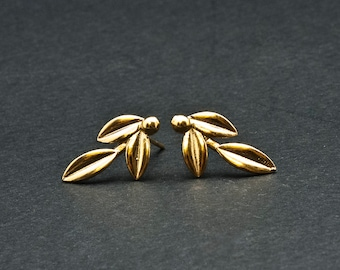 Gold Olive Leaves Small Earrings, Olive Twig Stud Earrings, Olive Branch Delicate Earrings, Greek Goddess Athena Symbol, Greek Jewelry