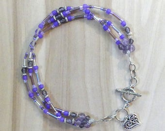 Triple Strand Purple Beachy Anklets, Anklets For Women, 3-Strand Purple Beaded Anklet, Purple Anklet And Heart Charm, Purple Anklet Gift