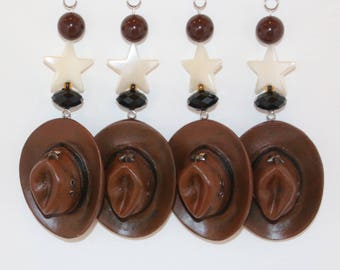 Western Cowboy Hats Tablecloth Weights Set of 4
