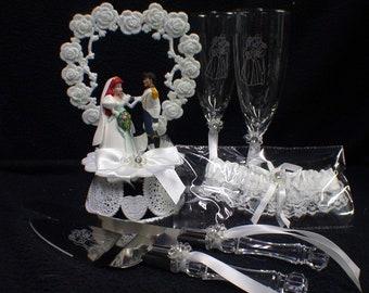 Only 99 Dollars SPECIAL SALE Disney Little MERMAID Wedding Cake Topper lot Glasses, knife, server, garter Princess Arial Prince Eric gift