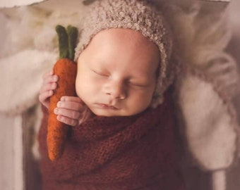 Newborn photo props bunny  complete set with lovelies carrot, stuffed bunny baby photography outfit knitted newborn boy romper and hat set
