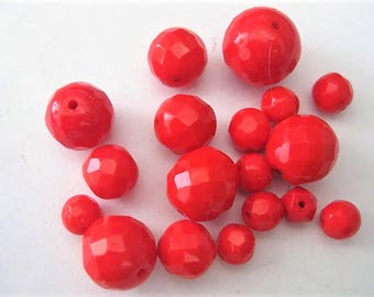 Jewelry Supplies ~  Glass Red  Beads  18 pc  Round  Faceted   7, 8, 10, 12, 16mm