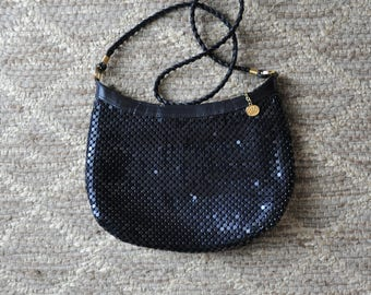 70s metal mesh purse / 1970s navy blue shoulder bag / chain mail crossbody bag