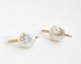 14k gold filled white pearl earrings, Keshi Pearl Drops, White Keshi Pearl Earrings, Bridal Jewelry, June Birthstone