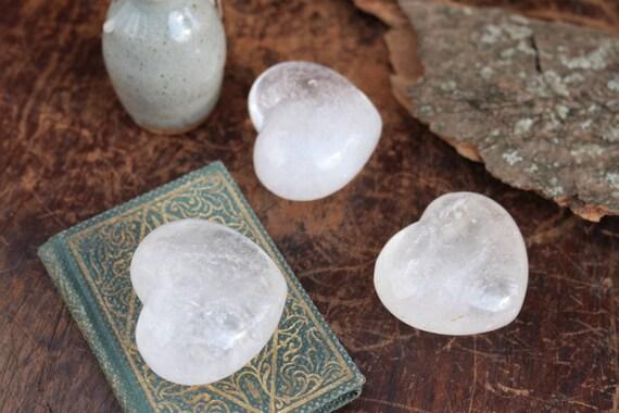 Small Milky Clear Quartz Hearts, Milky Quartz Crystal Hearts, Polished Quartz Crystal, Heart Shaped Quartz, Puffy Crystal Heart, Talisman
