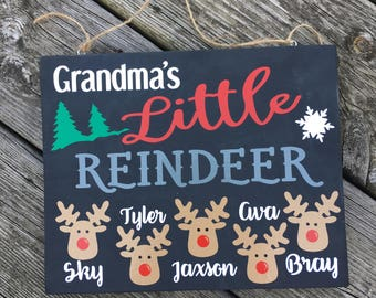 Grandma's Little Reindeer personalized sign, Christmas sign, gift for Grandma, 8x10 wood sign