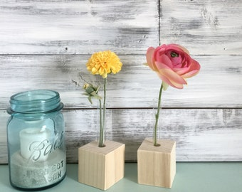 Test Tube Bud Vases, DIY, do it yourself, small vases, unfinished wood, party favors. A SET Of TWO, or more