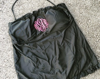 Monogram Tankini Top, Ruffle Tankini top, monogram bathing suit, womens tankini