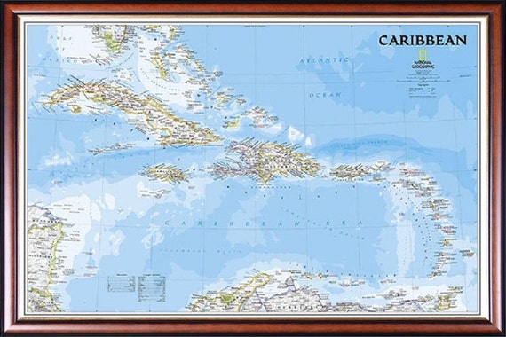 Caribbean islands map by national geographic in walnut with caribbean islands map by national geographic in walnut with gold inlay frame push pins included q155753 gumiabroncs Choice Image